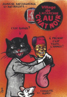 CPM Timbre Monnaie Siné Par Jihel Tirage Limité En 30 Exemplaires Numérotés Signés Banania Négritude Chat Cat Souris - Coins (pictures)