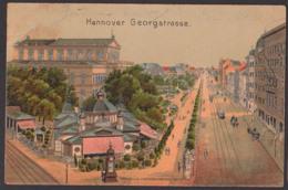 Hannover Georgenstraße Mit Cafe Kröpke, Verlag Leistnschneider Litfasssäule Ak 1900, Bahnpostst. Hannover - Leipzig - Hannover