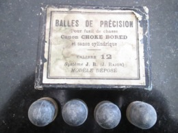 ANCIEN BOÎTE AVEC BALLES DE PRÉCISION FUSIL DE CHASSE -Canon CHOKE BORED Et CANON CYLINDRIQUE - CALIBRE 12 - SYSTÉME J.R - Sammlerwaffen