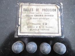 ANCIEN BOÎTE AVEC BALLES DE PRÉCISION FUSIL DE CHASSE -Canon CHOKE BORED Et CANON CYLINDRIQUE - CALIBRE 12 - SYSTÉME J.R - Armas De Colección