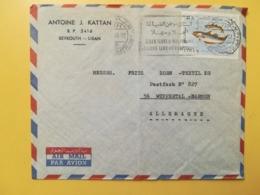 1968 BUSTA INTESTATA LIBANO LIBAN STORIA POSTALE BOLLO FAUNA PESCI ANNULLO OBLITERE' BEYROUTH MECCANICA PER ALLEMAGNE - Libano
