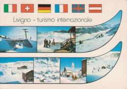 LIVIGNO - VEDUTINE MULTIVUES BANDIERE ITALIA SVIZZERA GERMANIA FRANCIA REGNO UNITO AUSTRIA CAMPI DA SCI - VIAGGIATA 1983 - Italia