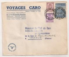 ENVELOPPE / VOYAGES CARO BRUXELLES   A PARIS AUSTERLITZ  B1101 - Covers & Documents
