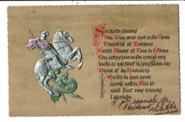 CPA-Carte Postale En Relief -France - Souhaits Sincères Avec Un Chevalier Terrassant Un Dragon-VM8012 - Neujahr