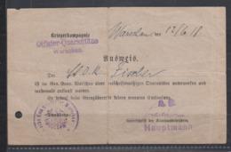 I.WK Post In Polen Ausweis Offizier-Quarantäne Warschau 12.6.1918 Mit Dienstsiegel Etc - Besetzungen 1914-18