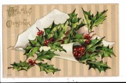 CPA-Carte Postale En Relief -Angleterre - A Mery Christmas Avec Du Houx En 1911VM8013 - Christmas