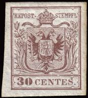 MLH ) LOMBARDO-VENETO 1850   30c. Bruno, Carta A Mano, I Tipo      Provenienza   Collezione Romano Padoan      Firma - Lombardo-Veneto