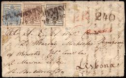 Cover ) LOMBARDO-VENETO 1858 (17 Lug.)   Lettera Con Testo Da Treviso, Via Di Austria E Francia, Per Lisbona - Lombardo-Veneto