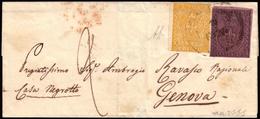 Cover ) PARMA 1855 (10 Gen.)   Lettera Da Parma Per Genova, Affrancata Per 40c. Con 25c. Violetto (I Em.) E 5 - Parma