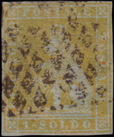 Used ) TOSCANA 1851   1s. Giallo Limone Su Azzurro      Cert. En. Diena. Firma Em. Diena, A. Diena, R. Mezzadri   - Toscana