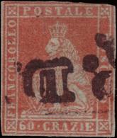 Used ) TOSCANA 1852   60cr. Scarlatto Su Grigio      Cert. A. Diena      Used..........(Sass. 9a) - Toscana