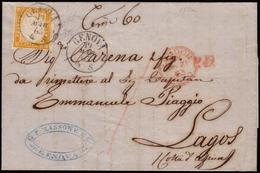 Cover ) SARDEGNA/REGNO D'ITALIA 1863 (19 Mar.)   Lettera Senza Testo, Da Genova, Via Londra, Per Lagos (Niger - Sardegna