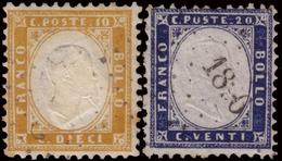 Used ) REGNO D'ITALIA 1862   Insieme Formato Da Un 10c. Bistro Arancio E Un 20c. Indaco. L'esemplare Da 20c. - Italia