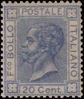 MNH ) REGNO D'ITALIA 1867   20c. Azzurro Lillaceo Chiaro, Tiratura Di Londra      Cert. S. Sorani      MNH......... - Italia