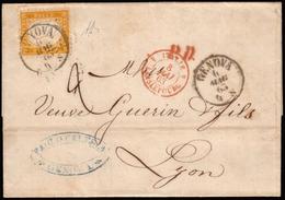 Cover ) REGNO D'ITALIA 1863 (6 Mag.)   Lettera Con Testo Da Genova Per Lione (Francia) Affrancata Con 80c. Gi - Italia