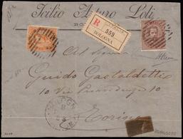 Front Of Cover ) REGNO D'ITALIA 1889 (8 Feb.)   Frontespizio Di Lettera Raccomandata Da Bologna Per Torino, Affrancata - Italia