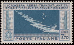 """MNH ) REGNO D'ITALIA 1930   Posta Aerea """"Crociera Transatlantica Roma-Rio De Janeiro"""". 7,70 Lire Celeste E - Italia"""