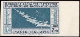 """MNGAI ) REGNO D'ITALIA 1930   Prova D'archivio. Posta Aerea """"Crociera Transatlantica Roma-Rio De Janeiro"""". 7, - Italia"""