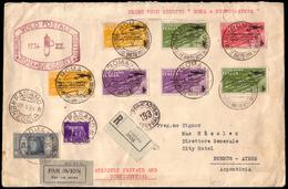 """Cover ) REGNO D'ITALIA 1934 (23 Gen.)   Posta Aerea """"Roma-Buenos Aires"""". Busta Da Fasano (BS) Per Buenos Aire - Italia"""