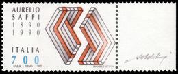 """MNH ) REPUBBLICA 1990   Varietà. 700 Lire """"Saffi Rosso""""      Provenienza   Collezione """"Dalton""""      Cert. Finanziario - Non Classificati"""