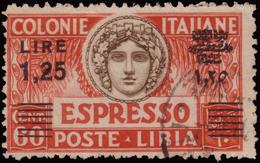 Used ) LIBIA 1933   Espresso. 1,25 Lire/60c. Carminio Scuro E Bruno, Soprastampa Nera      Provenienza   Collezion - Libia