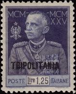 """MH ) TRIPOLITANIA 1926   """"Giubileo Del Re"""". 1,25 Lire Azzurro D. 11      Provenienza   Collezione Romano Padoan   - Tripolitania"""