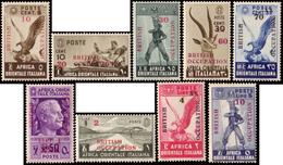 """MNH ) AFRICA ORIENTALE ITALIANA 1941   Occupazione Inglese.   Serie Completa Di 9 Valori Soprastampata """"BRITI - Africa Orientale Italiana"""