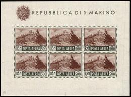 """MNH ) SAN MARINO 1951   Foglietto Posta Aerea. 500 Lire """"Veduta"""". Al Verso Segni Di Conservazione Agli Ango - San Marino"""