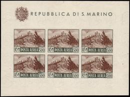"""MH ) SAN MARINO 1951   Varietà. Foglietto Posta Aerea. 500 Lire """"Veduta"""", Non Dentellato, Senza Filigrana - San Marino"""
