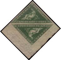 MH ) CAPO DI BUONA SPERANZA 1855/1858 | 1s. Verde Scuro (deep Dark Green), Tiratura Perkins Bacon, Angolo - África Del Sur (...-1961)