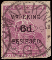 Fragment ) CAPO DI BUONA SPERANZA 1900   Assedio Di Mafeking. 6d./3d. Magenta      Cert. M. Raybaudi      Fragment...... - Sud Africa (...-1961)