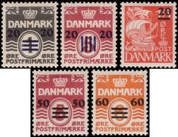 MH ) FAROE 1940/1941 | Occupazione Britannica. Serie Completa Soprastampata Di 5 Valori |  | Cert. S. Kaiser. - Islas Faeroes
