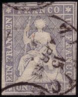 """Used ) SVIZZERA 1856/1857   """"Strubel"""". 1fr. Grigio Violetto Con Filo Di Seta Giallo      Cert. Zumstein & Cie.      - Svizzera"""