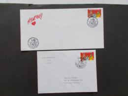 BELGIQUE  -   LOT DE  2 Enveloppes  1er Jour  Themes  De La BD  Année 1995 Du N° 2619  ( 37 ) - Cartes Souvenir
