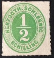 1865 Ziffer ½ Schilling Inschrift HERZOGTH.SCHLESWIG Mi. 13(*) - Schleswig-Holstein