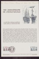 """Document De La Poste """" 150 Anniversaire De L'école Navale """" Du 17 Octobre 1981 à Lanveoc & Paris - Documentos Del Correo"""