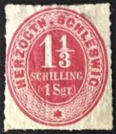 1865 Ziffer 11/3 Schilling Inschrift HERZOGTH.SCHLESWIG Mi. 15*) - Schleswig-Holstein