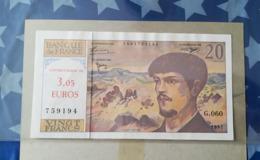 Billet 20 Francs Debussy Surcharge 3.05 Euros Contre Valeur Surchargé - Fouten