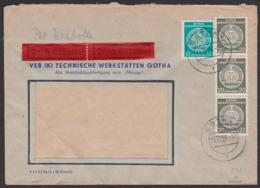 GOTHA, Dienstpost-Eilbrief 10.12.58, Geprüft Gerhardt, Dabei 20 Pf. Im 3er Streifen - Service