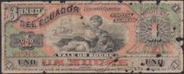 Ref. 809-1231 - BIN ECUADOR . 1. 1 SUCRE 1901 BANK OF ECUADOR. 1 SUCRE 1901  BANCO DEL ECUADOR - Ecuador