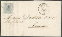 N°17 - 10 Centimes Gris, Obl. LP.11 Sur Lettre D'ANTOING Le 7 Août 1867 Vers Tournay. Très Frais. - Superbe  - 14658 - 1865-1866 Linksprofil
