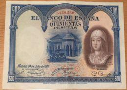 Ref. 107-407 - BIN SPAIN . 1927. 500 Pesetas Isabel La Cat�lica 1927. 500 Pesetas Isabel La Cat�lica 1927 - [ 1] …-1931 : Primeros Billetes (Banco De España)