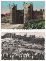 """Maroc. Rabat. """"Fête Indigène Aux Oudaïas"""" Carte En Noir Et Blanc Et """"La Porte Du Chellah"""" Carte En Couleurs Lot De 2 CPM - Rabat"""