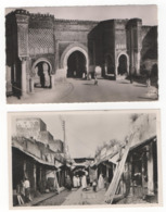 """Maroc. Meknès. """"Rue Dans Les Souks"""" Et """"Bab Mansour"""". Lot De 2 Cartes Postales Modernes En Noir Et Blanc - Meknes"""