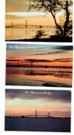 3 MACKINAC  BRIDGE Michigan, USA, 3 Different Old Chrome Postcards - Sonstige