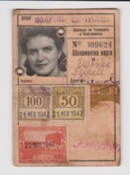 #m680 Bulgaria Ww2-1942 Sofia City Electric Transport Season Ticket W/Fiscal Revenue Stamps - Bulgarie