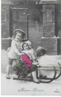 BONNE ANNEE  -- Petites Filles Avec Leur Traineau - Neujahr