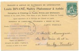 ANHEE - Carte Commerciale De Louis Binamé, Matériaux De Construction - Anhée