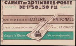 FRANCE Carnets ** 517-C1, Série 63: 1f.50 Pétain, Avec Numéro Et Cd 26/5/42 LOTERIE NATIONALE, ÉCOLE UNIVERSELLE - Libretas