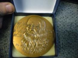 GROSSE MEDAILLE LEONARD DE VINCI 82 Mm Pour 230 Gr. Bronze De 1978 - Ne Sais Tu Pas Que Notre âme Est Faite D'harmonie - France